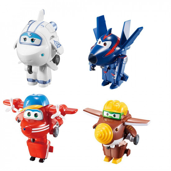Super Wings Transform-a-Bots, Flip, Todd, Agent Chase, and Astra