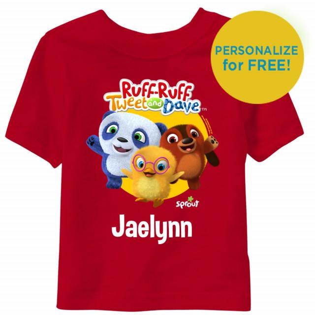 Ruff-Ruff, Tweet and Dave Short Sleeve Toddler T-Shirt - Red